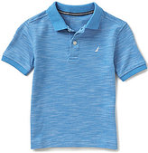 Nautica Little Boys 4-7 Heathered Ribbed Short-Sleeve Polo Shirt
