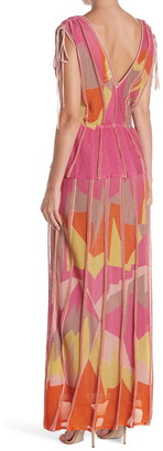M Missoni Tied Cap Sleeve Maxi Dress