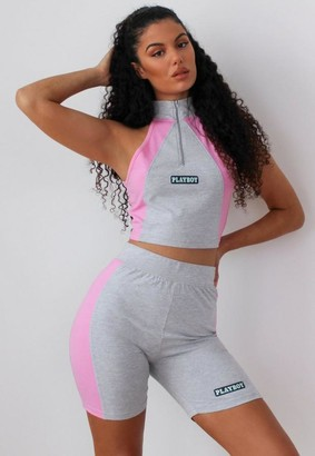 Missguided Playboy X Gray Colorblock Biker Shorts