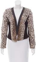 Milly Leather Trimmed Leopard Jacket