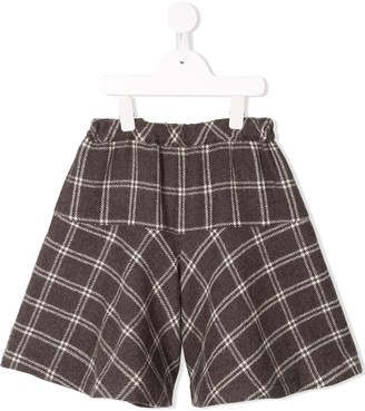 Familiar Check Flared Shorts
