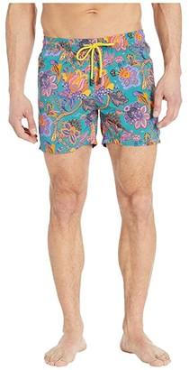 Etro Tropical Floral Swim Trunks (Light Blue) Men's Swimwear