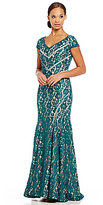 Xscape Evenings Illusion Lace V-Neck Mesh Insert Gown