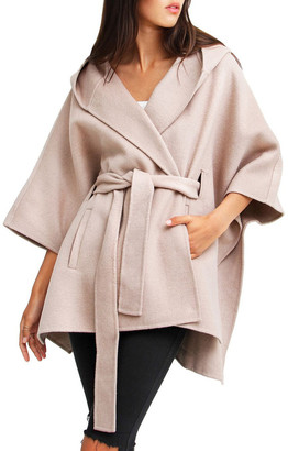 Belle & Bloom Jackson Landing Sand Wool Blend Cape Coat