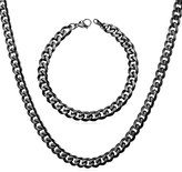 U7 Steel Chain Set Men Necklace Bracelet Sets Jewelry Stainless Steel Curb Cuban Chains