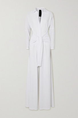 Norma Kamali Tie-front Stretch-jersey Jumpsuit - White