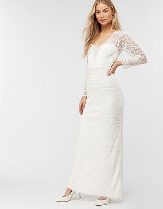 Under Armour Charlotte Geo Embellished Maxi Wedding Dress Ivory