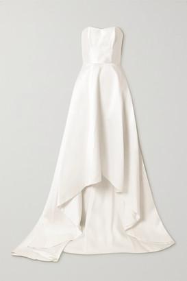 Halfpenny London Jackson Strapless Asymmetric Duchesse-satin Gown - Ivory