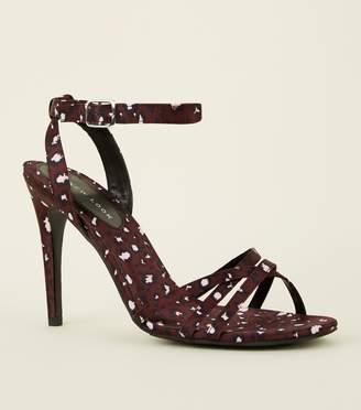 New Look Satin Leopard Print Strappy Stilettos