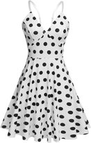 Meaneor Women's V-neck Spaghetti Strap Floral Print Flare Sundress, White & Black/XL