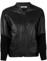 Jil Sander ribbed cuff leather jacket - women - Silk/Lamb Skin/Wool - 36