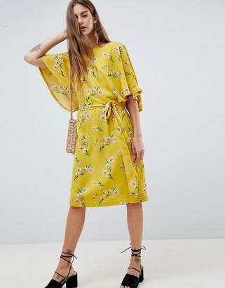 Soaked In Luxury Flute Sleeve Midi Dress In Floral Print