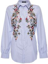 Quiz Blue and White Striped Embroidered Shirt