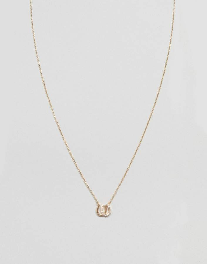 Asos Design DESIGN necklace with crystal horseshoe pendant in gold