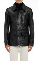 Ralph Lauren Purple Label Men's Calfskin Shirt Jacket-BLACK