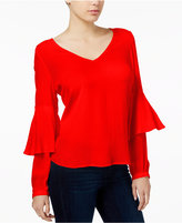Kensie Split-Back Layered-Sleeve Top