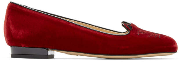 Charlotte Olympia Red Velvet Kitty Flats