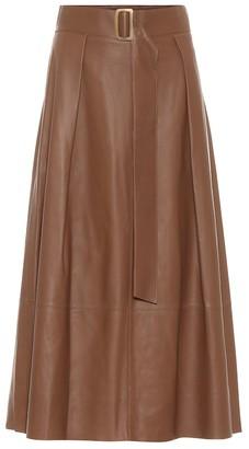 Vince Leather midi skirt