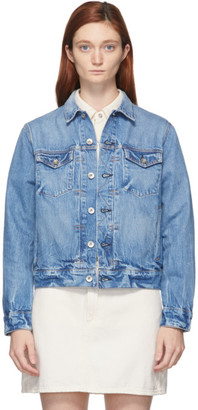 Rag & Bone Blue Shrunken Trucker Denim Jacket