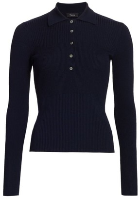 Theory Rib-Knit Long-Sleeve Polo Top