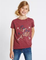 Marks and Spencer Cotton Rich Short Sleeve Top (3-14 Years)