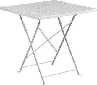 Latitude Run Fayerene Folding Steel Bistro Table Color: White