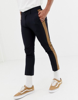New Look smart trousers with side stripe in navy