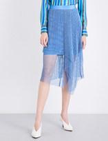 Diane von Furstenberg Asymmetric ruffled mesh midi skirt