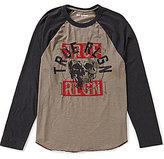 True Religion Long-Sleeve Raglan Skull Logo Graphic Tee