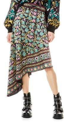 Alice + Olivia Natalina Print Asymmetrical Drawstring Skirt