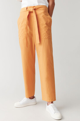 Cos Cotton Pants With Waist Tie