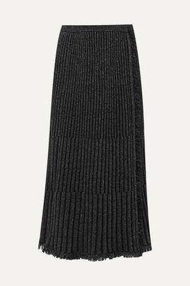 Diane von Furstenberg Brooklyn Fringed Ribbed Metallic Merino Wool-blend Midi Skirt - Black