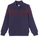 Petit Bateau Boys jacquard jacket lined in polar fleece