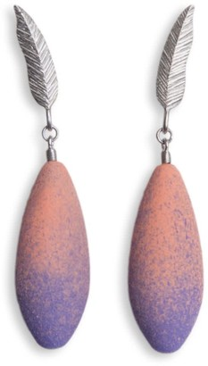 Diana Arno Winged Fairytales Silver Feather Earrings With Mini-Earberries