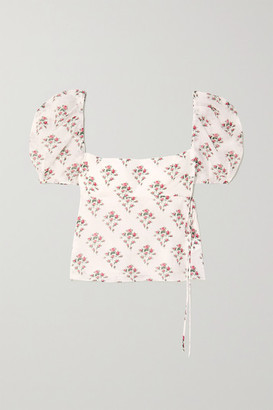 Brock Collection Tie-detailed Floral-print Cotton And Silk-blend Top - White