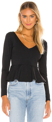 Susana Monaco Long Sleeve Peplum Blouse