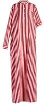 Balenciaga Asymmetric-sleeve striped maxi dress