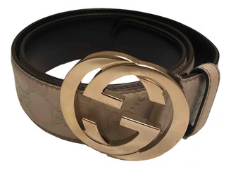 Gucci Interlocking Buckle Beige Leather Belts