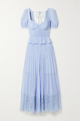 Self-Portrait Corded Lace-trimmed Plisse-chiffon Midi Dress - Blue