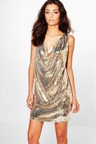 Boohoo Tall Melisa Drape Front Sequin Dress