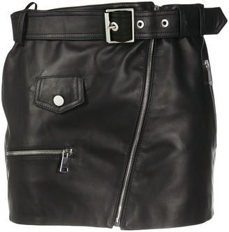 Manokhi Biker leather mini skirt