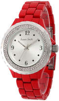 FINE JEWELRY Personalized Womens Red Alloy And Silver Tone Dial Bracelet Watch