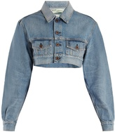 Off-White Point-collar cropped denim jacket