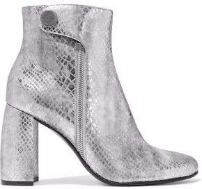 Stella McCartney Paden Metallic Snake-effect Faux Leather Ankle Boots