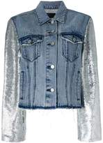 RtA metallic-sleeve frayed denim jacket