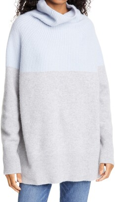 Nordstrom Signature Colorblock Funnel Neck Cashmere Sweater