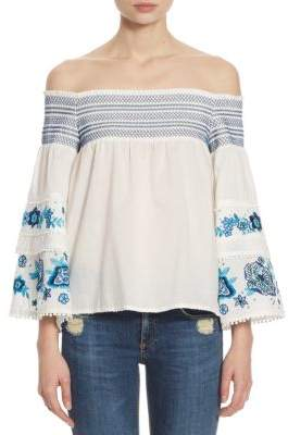 Parker Venice Embroidered Off-The-Shoulder Bell-Sleeve Cotton Blouse