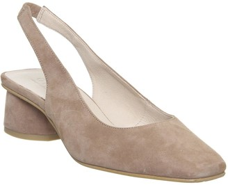 Office Manners Slingback Court Heels Nude Suede
