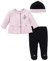 Little Me Three-Piece Cherry Top, Footed Pants and Hat Set