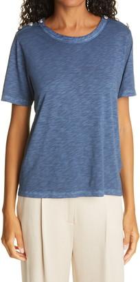 Veronica Beard Carla Button Shoulder T-Shirt